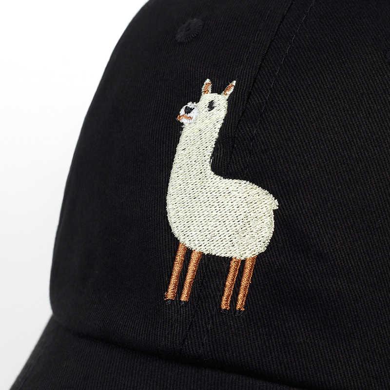 ... VORON new Unisex Alpaca Embroidery Adjustable Dad Hat men women cute  Black beige Alpaca Baseball Cap ... d4b2fb6f7703
