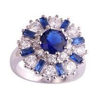 lingmei Wholesale Flower Design Fashion Sapphire Quartz & White Topaz 925 Silver Ring Size 7 8 9 10 11 12 Alluring Women Jewelry