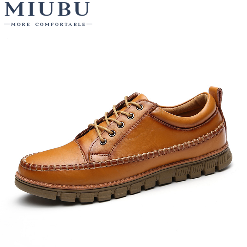MIUBU High Quality Casual Shoes Men Genuine Leather Flats Lace Up Loafers Moccasins Walking Outdoor Boat Shoes Sneaker Fashion 2018 spring autumn men shoes loafers hot fashion flats mens casual shoes lace up moccasins suede leather boat shoes men 7618