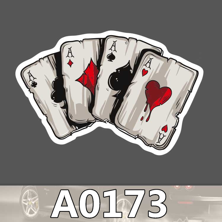 Bevle A0173 Four A Poker Waterproof Sticker For Cars Cool Laptop Luggage Skateboard Graffiti Cartoon Notebook Stickers