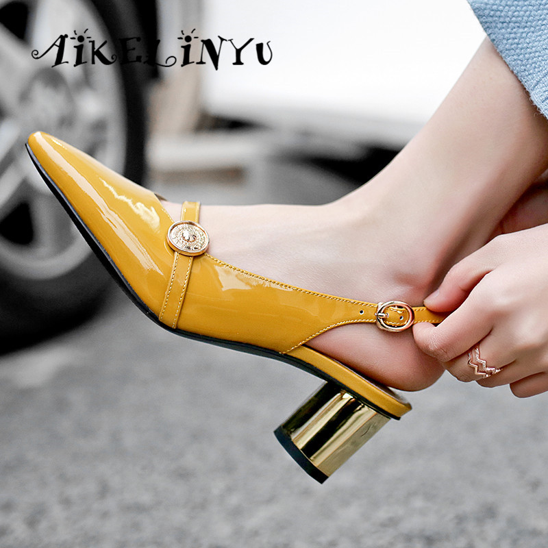 AIKELINYU New Genuine Leather Women Sandals High Quality Middle Heel Round Heel Office Ladies Summer Shoes Woman Sandals Green in Women 39 s Pumps from Shoes