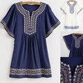Primavera 2016 Mulheres Blusa Bordados de Flores BOHO Hippie Do Vintage da Camisa Mulheres Blusas Blusas de Algodão Verão Top Vestido Frete Grátis
