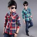 2016 Primavera Outono Meninos Camisas Xadrez roupas Para Crianças 6-13 anos camisas Dos Miúdos meninos de manga longa Blusa de abertura de cama-down collar