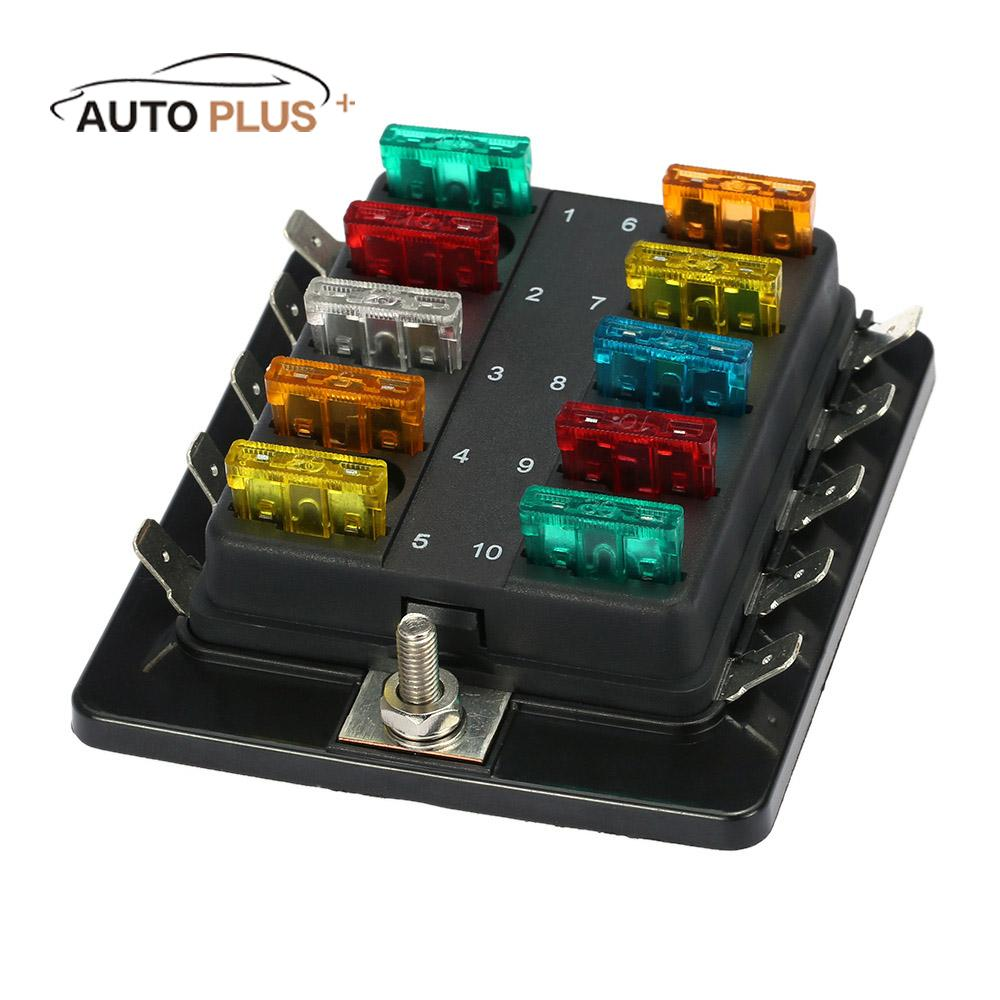 10 Way Blade Fuse Box Holder With Plastic Cover M5 Stud