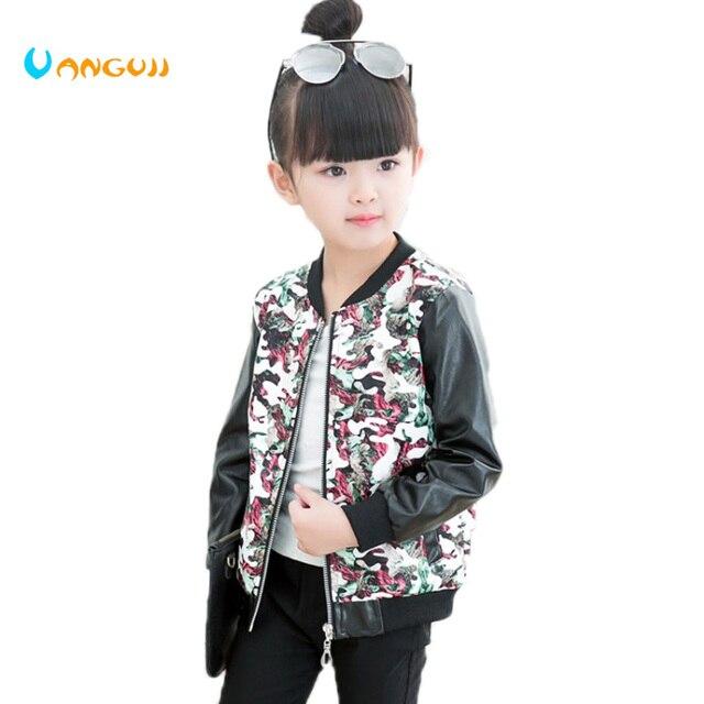 Для девочек весенне-осенняя куртка Мода PU Пальто для будущих мам с круглым вырезом Длинные рукава с цветочным принтом камуфляж верхняя одежда для девочек Одежда для девочек 3-9