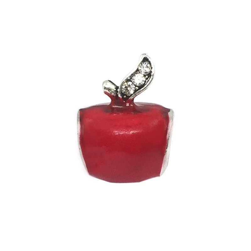Esmalte vermelho da neve branco da apple charme beads europeus fit encantos pandora pulseiras & bangles colar b00328