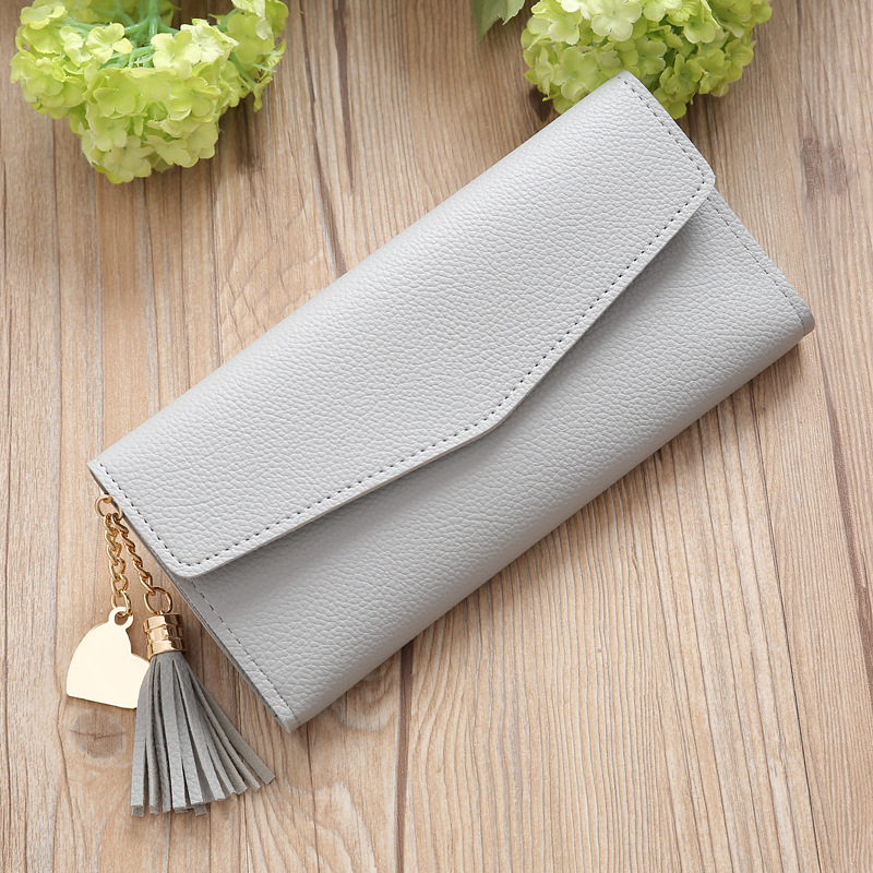 все цены на Long Wallet Women Purse Tassel Fashion Wallets Female High Quality Coin Purse Card Holder Clutch Purse PU Leather Wallet WWS205