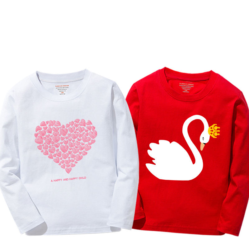 New Arrival Baby Girls Sweatshirt Spring Autumn 2019 Teenage Sweater Kids Clothes Girl Cotton Swan T shirt Long Sleeve Tees TopsTees   -