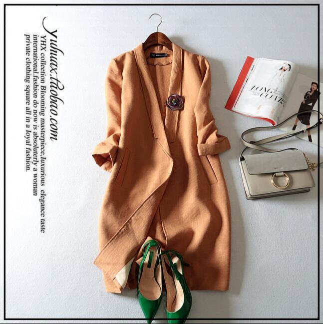 Et Blazer Nouvelles Coton blanc Féminin Veste De Noir Longue Printemps Mode Manches Survêtement Costume Automne Manteau 2019 Sept Section khaki Femmes Zpqd1w