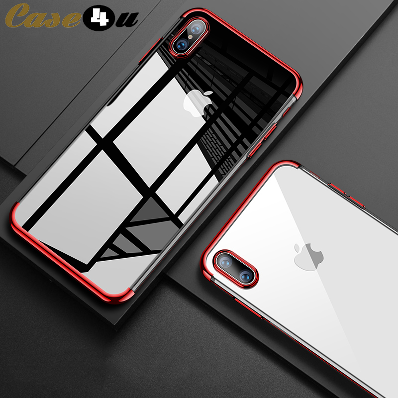 Luxury Soft TPU Silicone Rubber Case For iPhone 10 X XS MAX XR 8 8Plus 7 7Plus 6 6s Plus Transparent Plating Shining Cover coque(China)