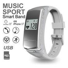 Гарнитура Bluetooth F50 Спорт Heart Rate Мониторы для IOS Android смартфон ответ циферблат вызова браслет Поддержка TF карты микрофон