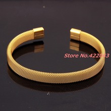 7.08″ * 8MM Fashion Mens Womens 316L Stainless Steel Gold  color  Open End Clasp Cable Wire Mesh Bracelet Bangles Jewelry