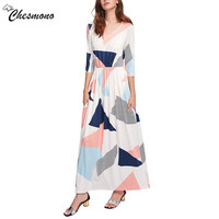 2017 New Style Summer Maxi Dress Women Fashion Geometric Print Vestidos Party Dresses Dual Pocket Spring