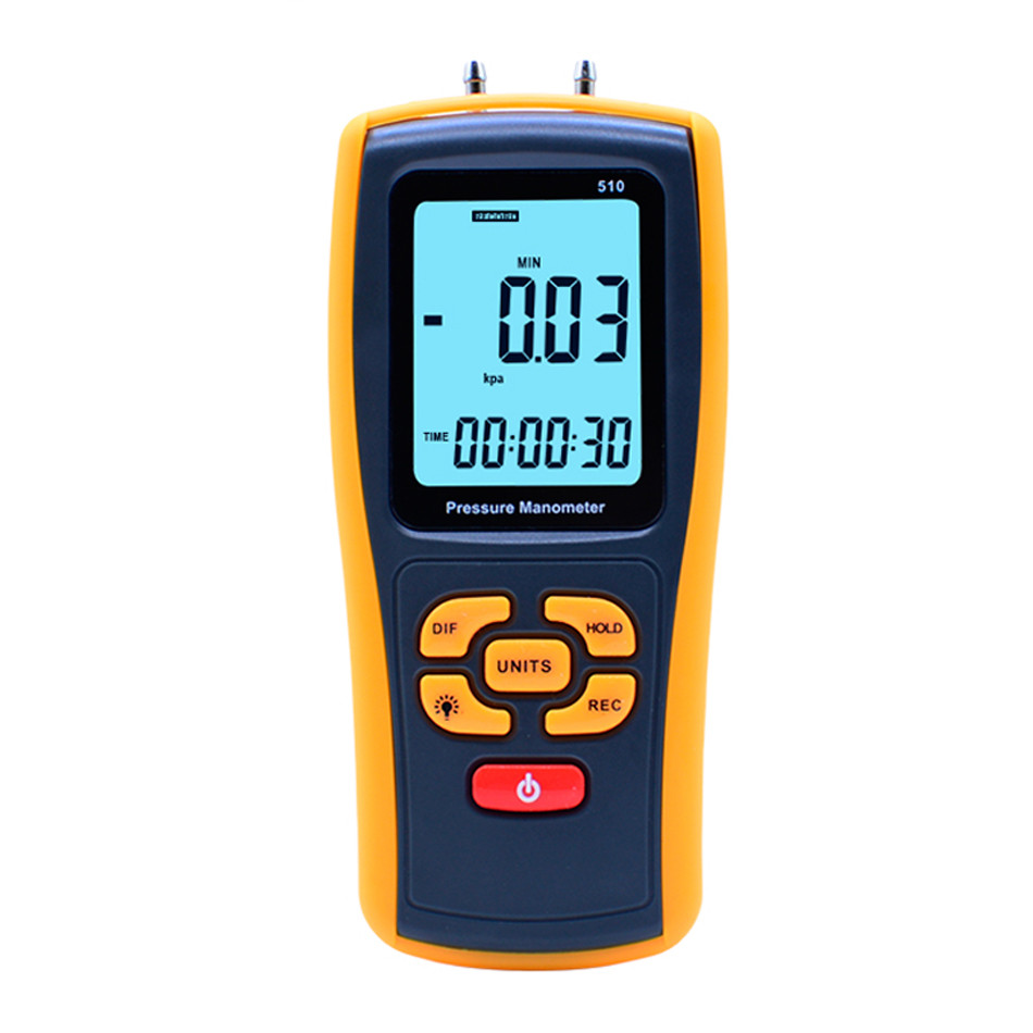 Hot Sale High Precision Digital LCD Display Pressure Manometer GM510 Portable 50KPa Differential Manometer Pressure Meter benetech gm510 2 6 lcd handheld pressure manometer orange black 4 x aaa