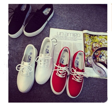 Adult casual shoes women white canvas rubber breathable lace-up platforms summer solid shoes for woman