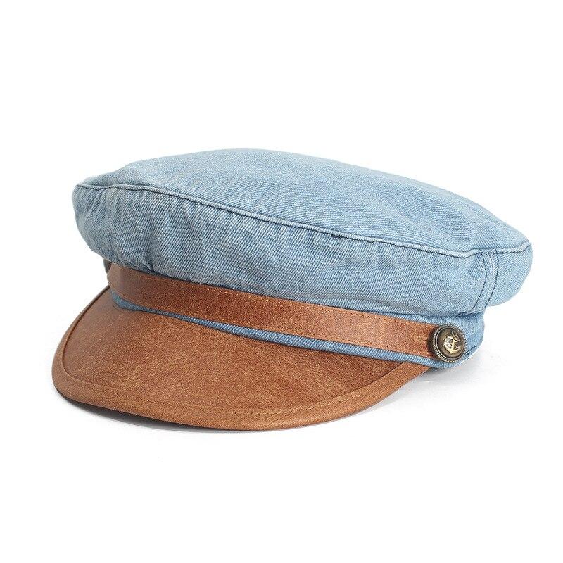 29217282 [HOT DEAL] US $23.51 for Female Washed Denim Octagonal Hats,Vintage Newsboy  Caps,Unisex Visor Cap,High Quality PU Brim Baseball Caps Wholesale