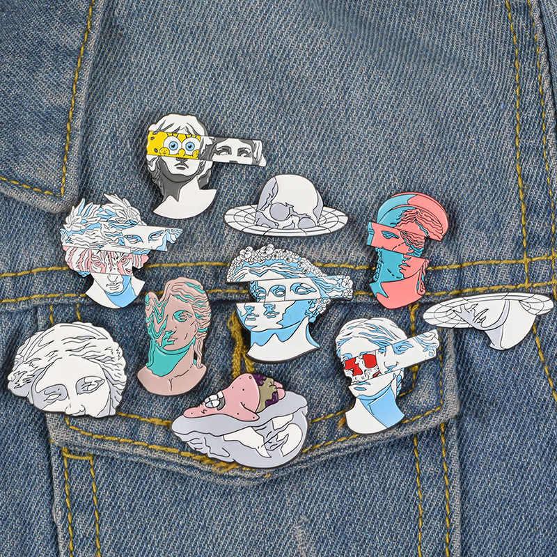 9 Pin Split Patung Bros untuk Wanita Seni Chic Pin SpongeBob Koboi Patrick Star Perhiasan Enamel Pin Lencana Tas Aksesoris