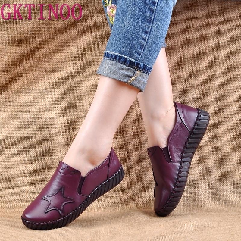 GKTINOO femmes appartements chaussures à la main 2019 printemps automne en cuir véritable dames chaussures plates femmes en cuir chaussure rétro