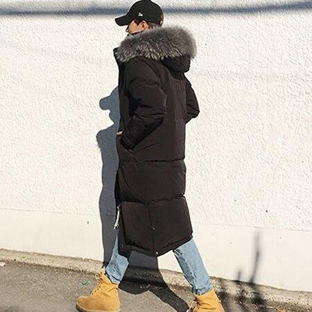 Зима плюс ovesize мужской длинный пуховик человек более-колено ультра Макси утепленная куртка натуральный мех енота воротник капюшон 3XL