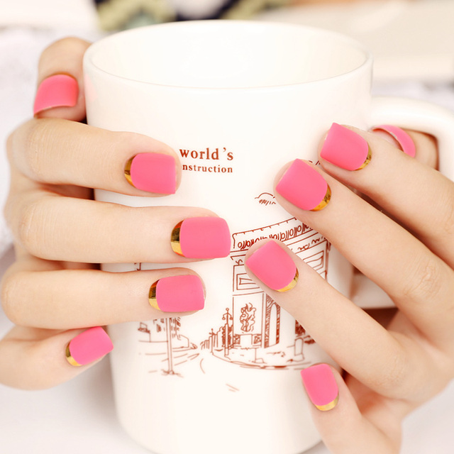 24pcs Rose Matte False Nails Artificial Pre Designed Metallic Fake Nail Tips Plastic Pink Art