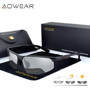 Image 2 - AOWEAR HD الرجال اللونية الاستقطاب النظارات الشمسية الرجال الاستقطاب الحرباء نظارات ليوم ليلة القيادة مضادة للوهج نظارات Gafas