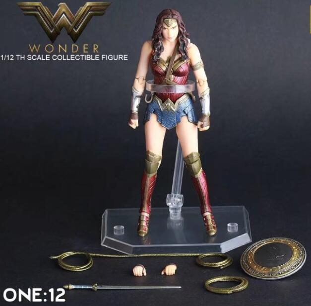 NEW hot 15cm Justice league movable Wonder Woman collectors action figure toys Christmas gift doll new hot 18cm super hero justice league wonder woman action figure toys collection doll christmas gift with box