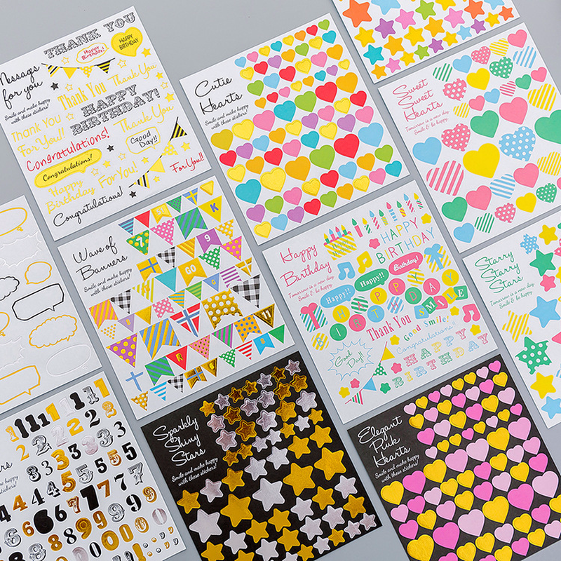 1Sheet Cartoon Geometric Diary Stickers Post It Kawaii Planner Memo DIY Scrapbooking Sticker Stationery New Child Toy Stickers