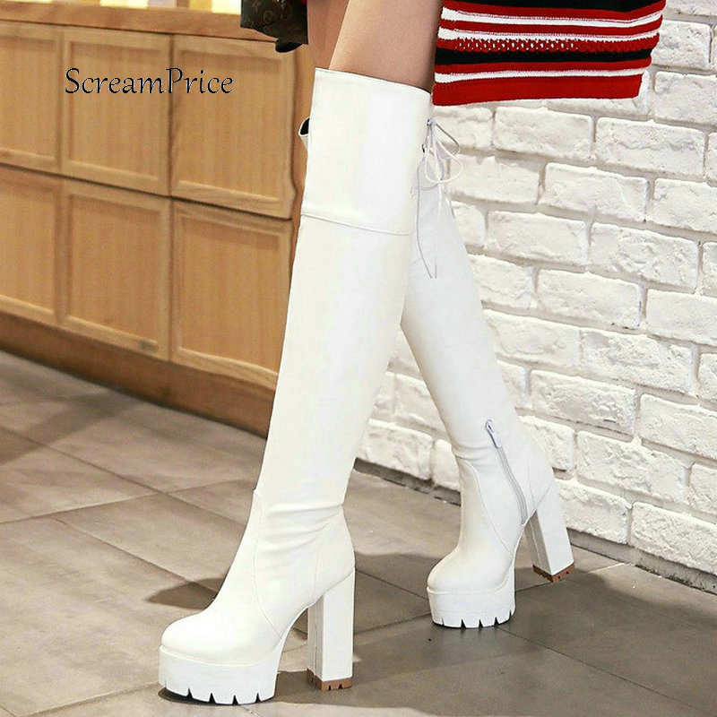 ff0381758c88 Platform Square High Heel Zipper Woman New Over The Knee Boots Fashion Lace  Up Ladies Thigh