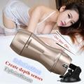 Gemido inteligente 2 Motor Vibrador Máquina Del Sexo 4D Mano Libre Artificial Chupar La Vagina realista Pocket Coño Vaginal Juguetes Adultos Del Sexo Para hombres