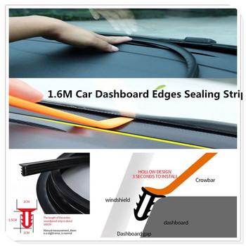 U Type 1.6M Car Dashboard Edges Strip Windshield Gap Sealing Rubber Strips for BMW E34 F10 F20 E92 E38 E91 E53 E70 X5 M M3 image