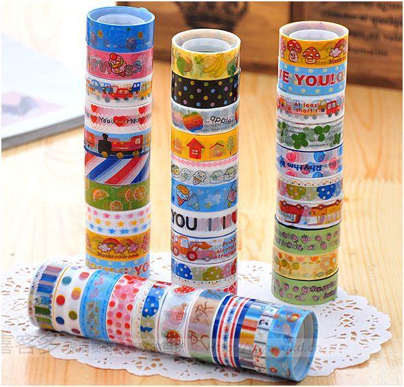 Cartoon washi tape set masking tape papeleria scrapbooking kawaii mask washitape lot decorative tapes Z232