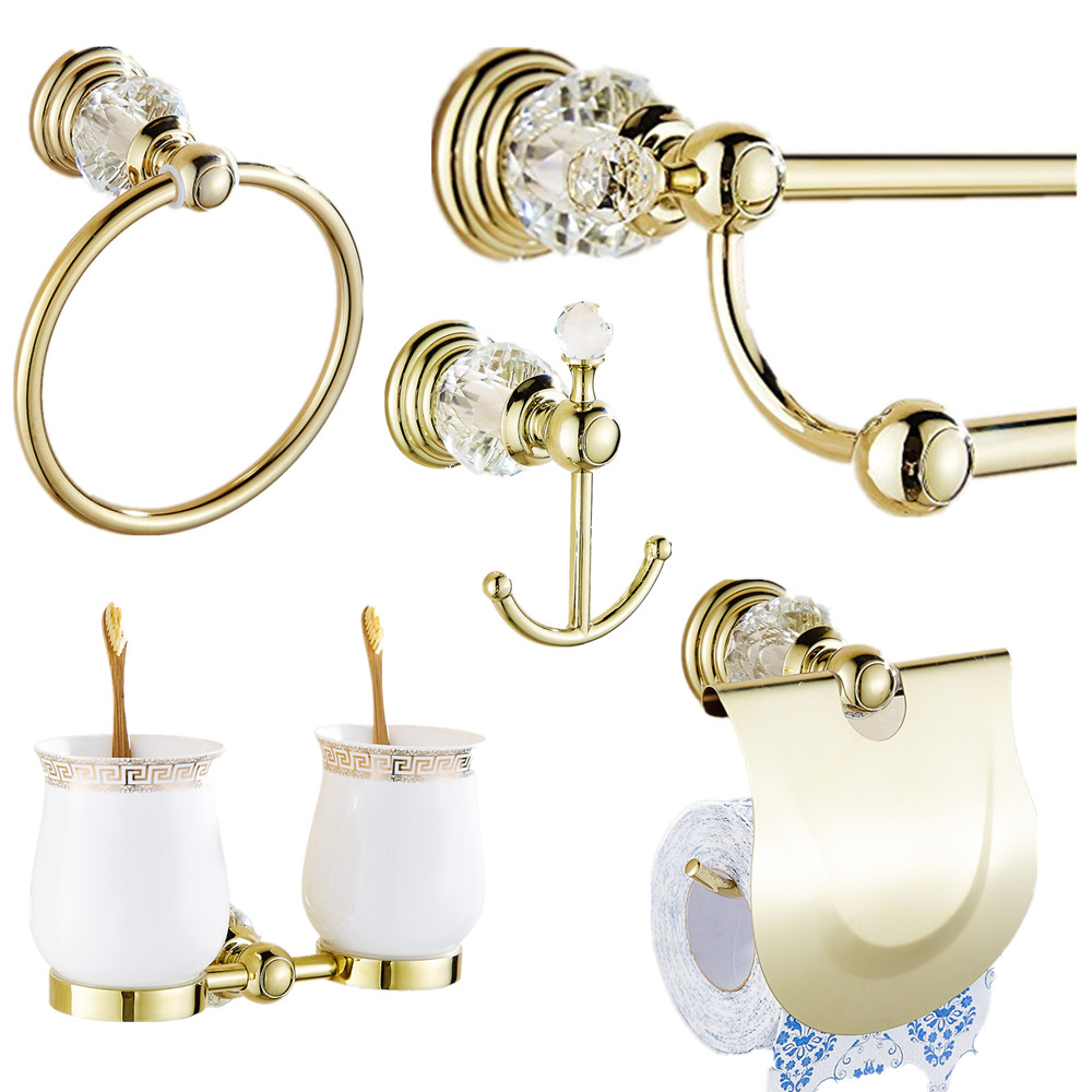 Auswind 5 товары золото кристалл латунь аппаратных набор для ванной Настенные полированный полотенце бумажное Держатель для полотенца кольцо