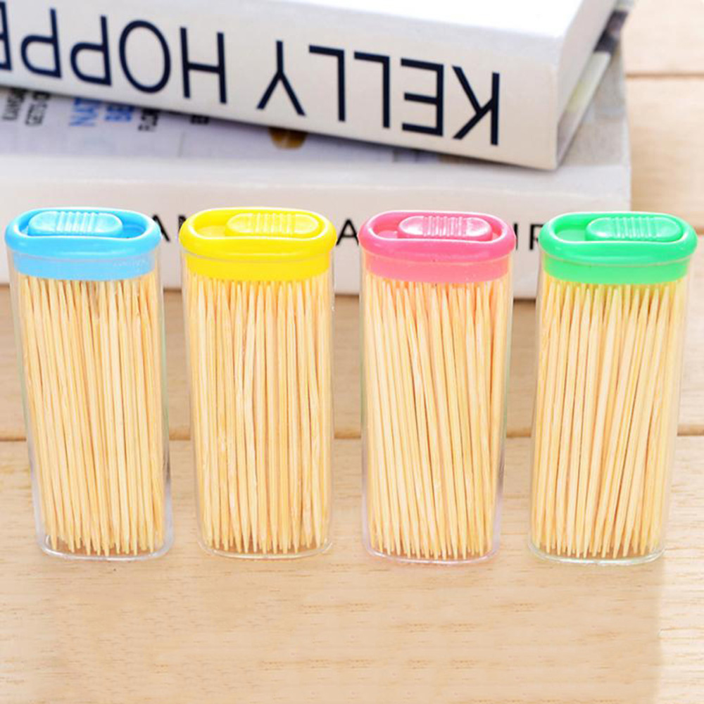 100PC/Box Disposable Wood Dental Natural Bamboo Toothpick Home Restaurant Hotel Product Fruit Double Sharp Toothpick Tool(China)
