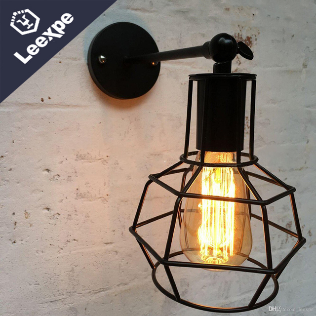 loft industrial iron cage. Nordic Retro American Village Loft Industrial Style Single Head Chandelier Creative Personality Wall Lighting Iron Cage