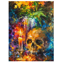 Diy Diamond Painting Cross Stitch Pattern 5D  Embroidery Skull Flowers Mosaic Full Square Home Decor JS1647