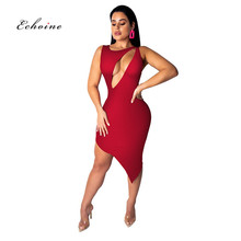 Echoine Women Bodycon Dress Bow Oblique Collar Sexy Hollow Out One Shoulder Sleeveless Irregular Hemline Vestidos Female Clothes