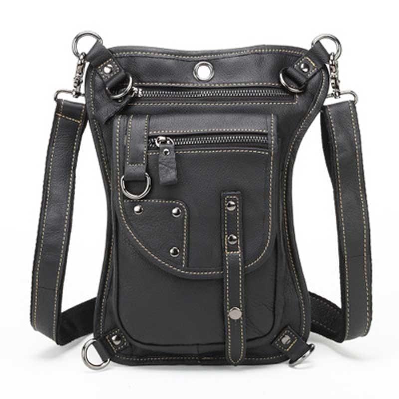 все цены на Fanny Pack Leg Bag Waist Men's Cowhide Geunine Leather Travel Motorcycle Messenger Shoulder Hip Belt Drop Rider Bum LZ-S028 онлайн