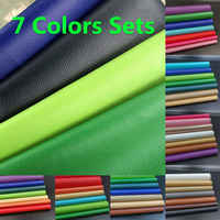 7PCS Rainbow Litchi PU Leather Fabric Faux Leather For Sewing Bag Clothing Sofa Car DIY Material 20X30CM Sheets