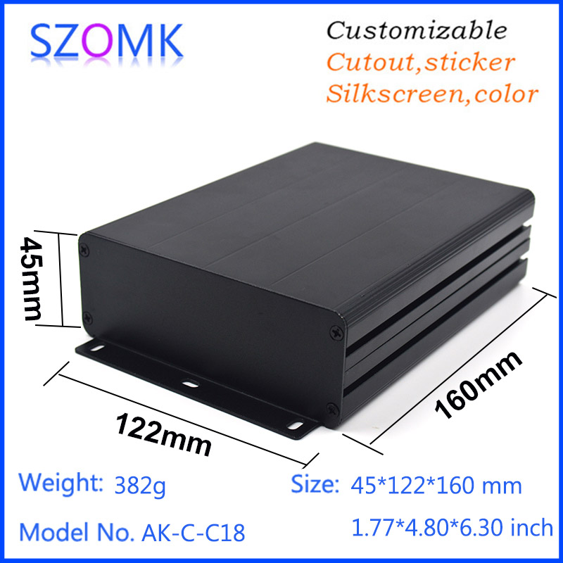 10 pcs, 45*122*160mm black good quality szomk shell enclosure aluminum housing case extrusion enclosure electronics project box 1 piece free shipping szomk electronics case aluminum extrusion enclosure 28 h x122w x100l mm