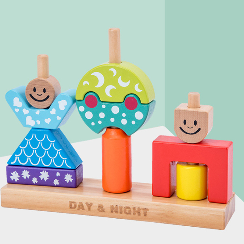 Educational Wooden Toy Sun & Moon Day & Night Pillar Blocks Early Learning Baby Kids Birthday Christmas Gift