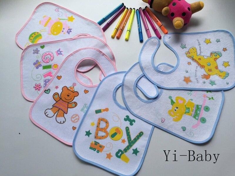 12 Pz/set Yb15012 Bambino Pranzo Al Sacco Impermeabile Bambino Burp Panni Di Cotone Bavaglini Per Bambini Spedizione Gratuita