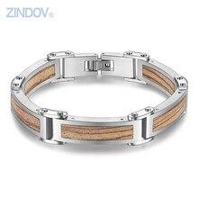Zindov Новый Для мужчин Jewelry Браслеты 316L Нержавеющая сталь дерево Мода браслет Браслеты для мужчин специальные марки Дизайн отца подарок