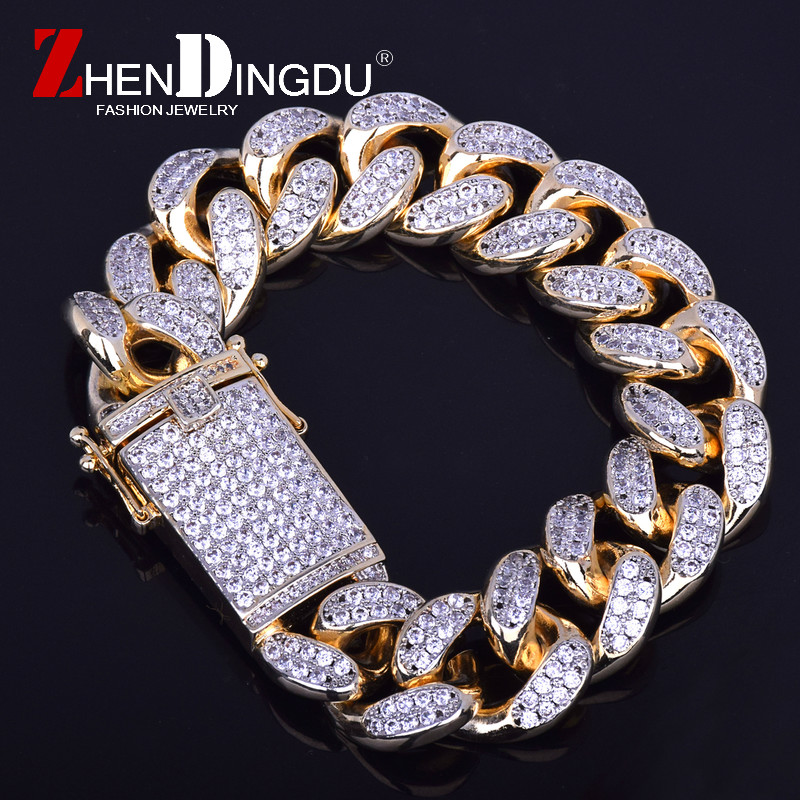 18mm Men S Chunky Iced Out Zircon Miami Cuban Link