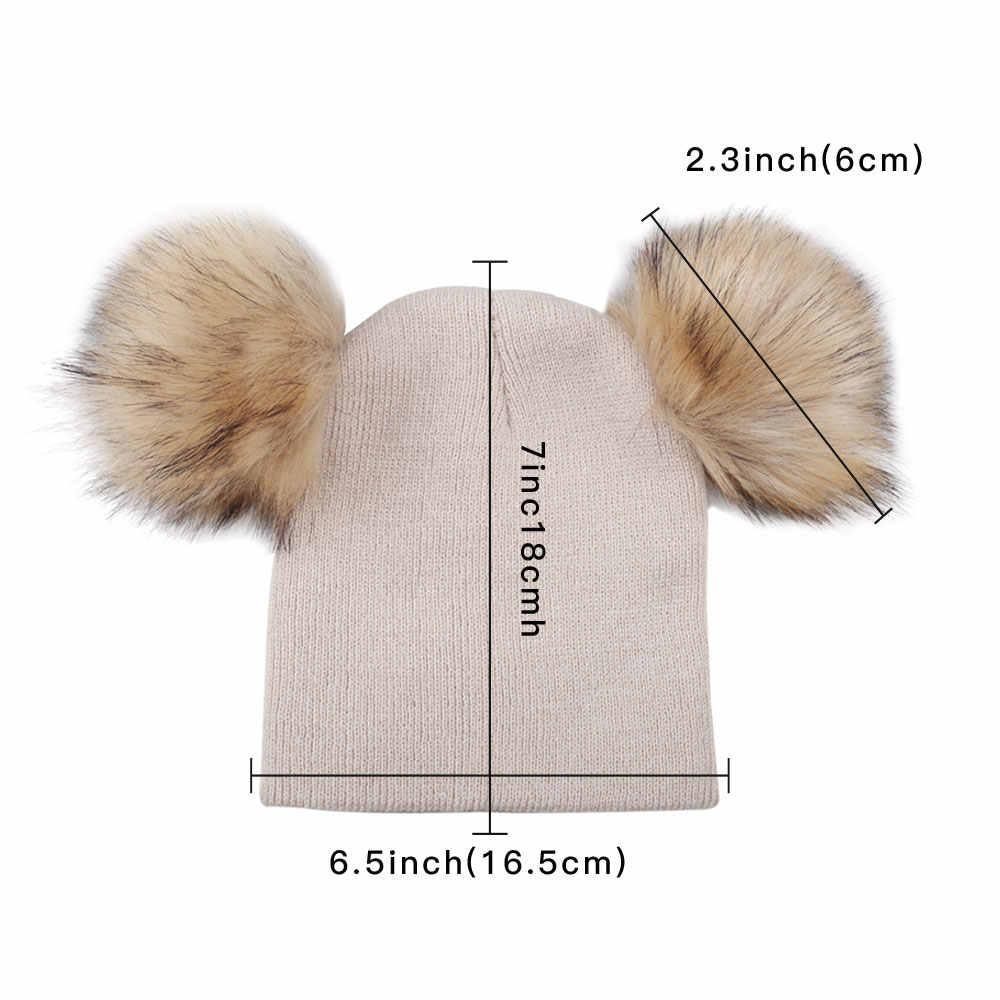 96fc6db1e3d ... 2018 Children Toddler Kids Baby Warm Winter Wool Knit Beanie Solid Fur  Pom Pom Bobble Hat ...