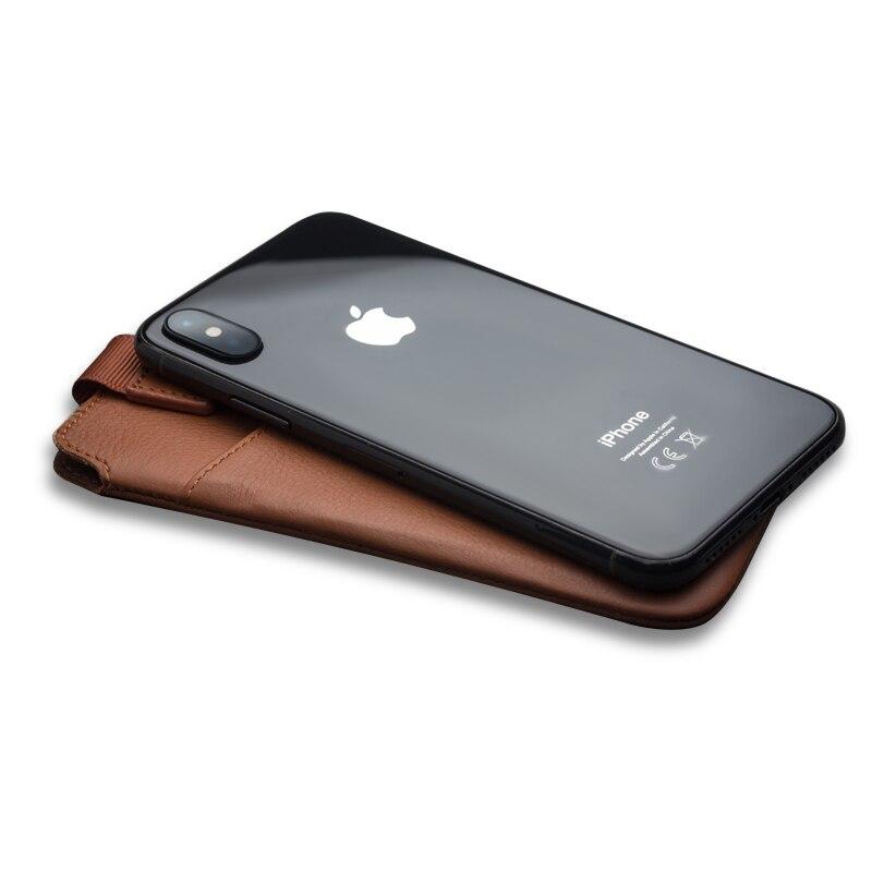 QIALINO Sac Cas Pour l'iphone X Véritable Couverture En Cuir Pour iphone X Fente Pour Carte de poche de Pochette De Luxe Ultra-Mince Accessoires Sac 5.8 pouces