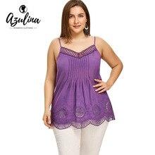 ad7d55428a AZULINA Plus Size Crochet Trim Scalloped Edge Tank Top Summer Tops Tees  Casual