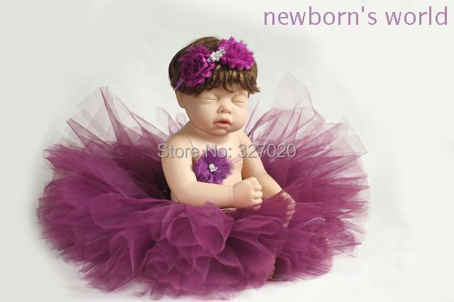2headbands+tutu skirt set,newborn infant Baby photography props Pink Tutu- Girls Tutu- Baby- fits to 0-24 Months