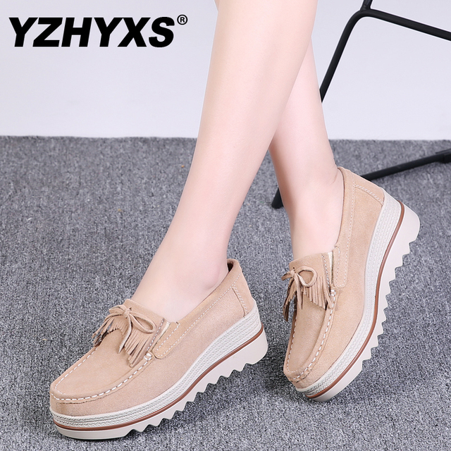 YZHYXS platform shoes for women slip on loafers suede cow leather  breathable comfortable fashion womens walking casual shoes 520d8e70037