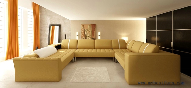 Elegant Beige Leather Sofa Hot Sale Large Sofa Set, Real Cow Leather  Furniture Modern Design