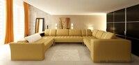 Elegant Beige Leather Sofa Hot Sale Large Sofa Set, Real Cow Leather Furniture modern design furniture Set Settee Sofas S8632
